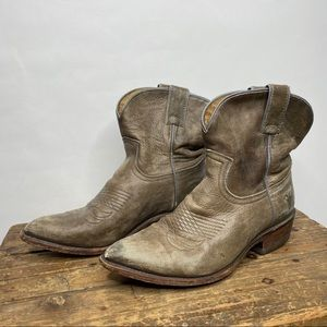 Frye Billy Western Short Distressed Ankle Booties
